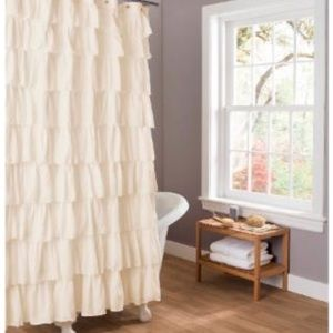 Ivory Ruffled Shower Curtain